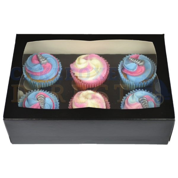 6 Premium Black Cupcake Window Box with 6cm Divider