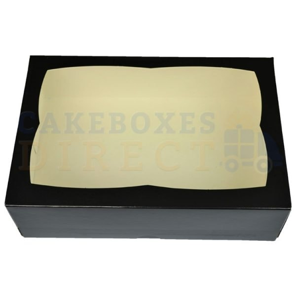 Premium Black Window Cake Box 9.5 x 6.6 x 3 in.