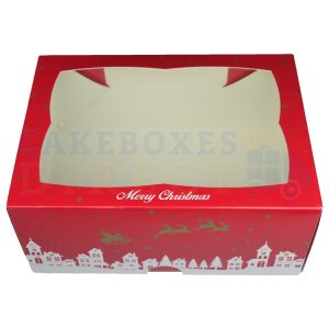 Premium Xmas Window Ex Deep Cake Box 9.5 x 6.6 x 4 in.
