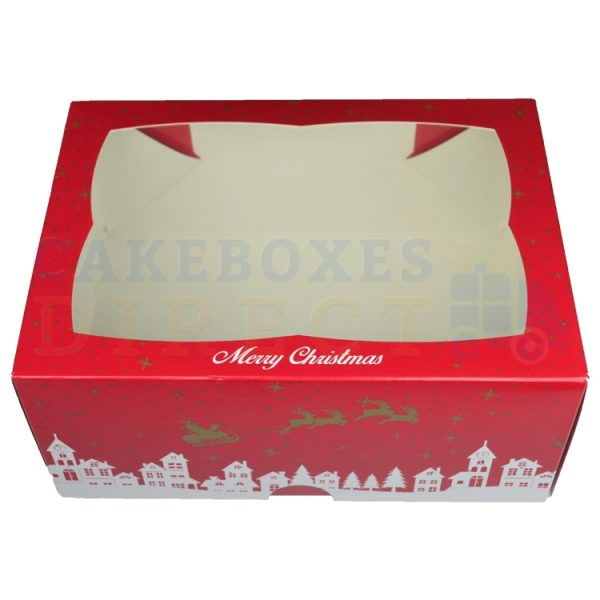 Premium Xmas Window Ex Deep Cake Box 9.5 x 6.6 x 4 in.