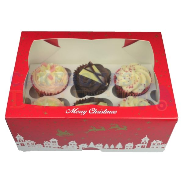 "6 Xmas Cupcake window box with 6cm divider (4"" deep)"