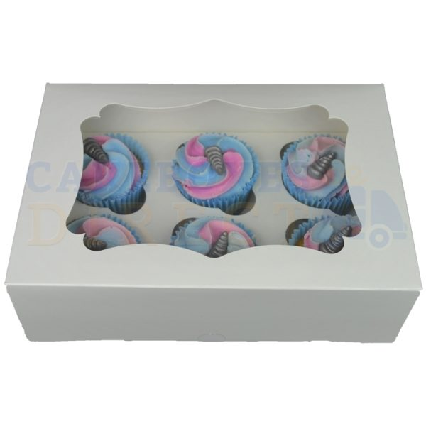 6 Economy White Cupcake Window Box with 6cm Divider (New Window Size!)