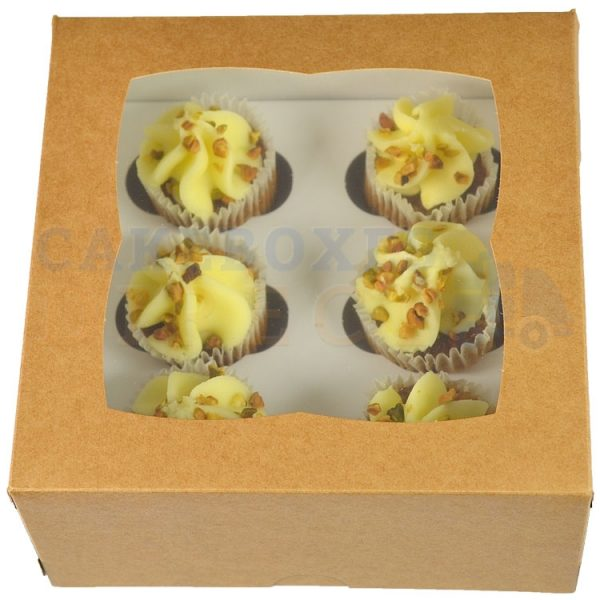 Premium 6 Mini Kraft Cupcake Window Box with 3.5cm Divider