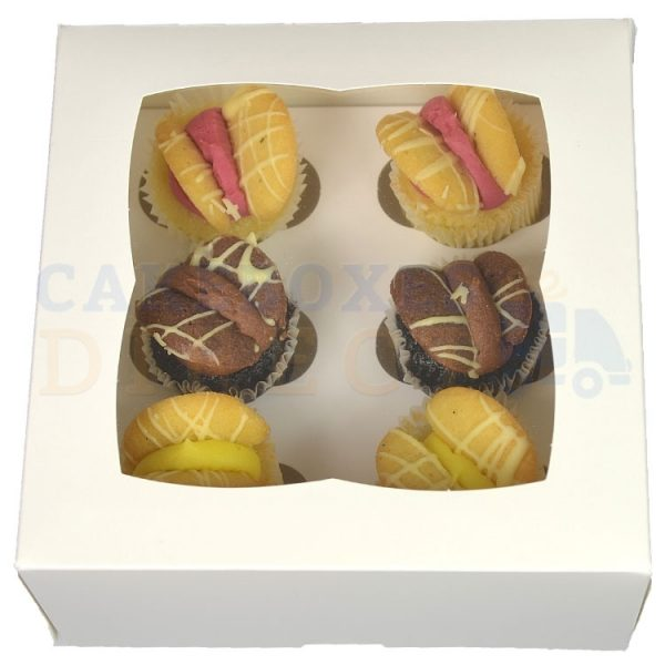 Premium 6 Mini White Cupcake Window Box with 3.5cm Divider