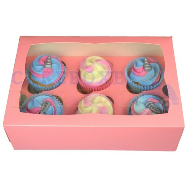 6 Premium Pink Cupcake  Window Box with 6cm Divider