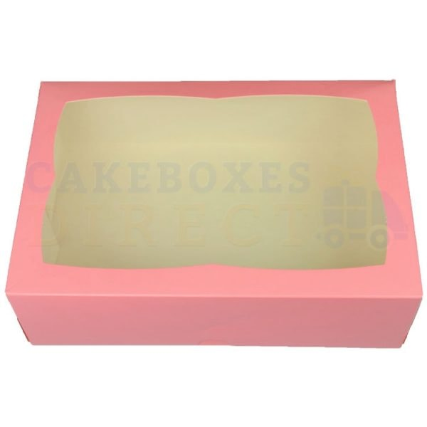 Premium Pink Window Cake Box 9.5 x 6.6 x 3 in.