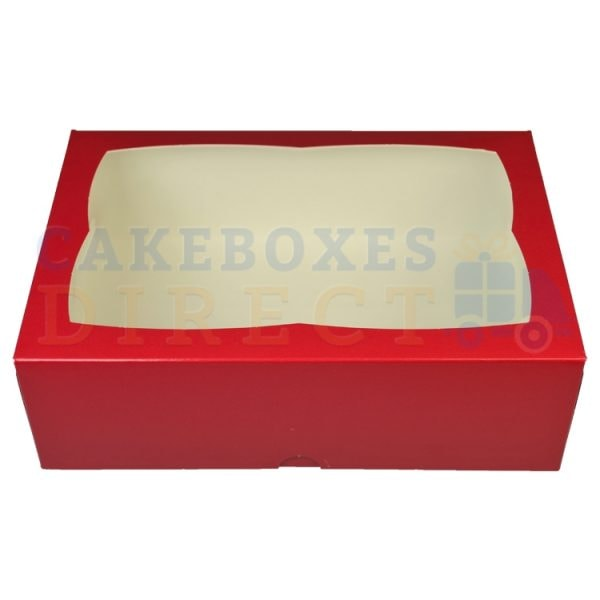 Premium Red Window Cake Box 9.5 x 6.6 x 3 in.