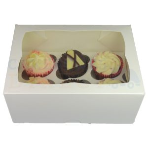 6 Premium White Cupcake Ex Deep Window Box with 6cm Divider