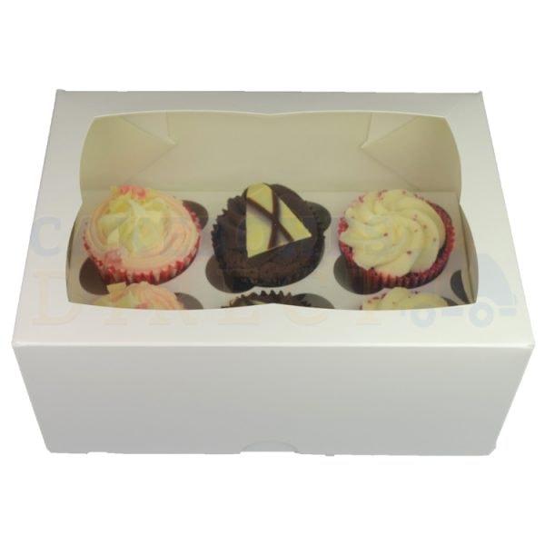 6 Premium White Cupcake Ex Deep Window Box with 6cm Divider