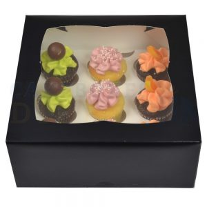 Premium 9 Mini Cupcake Black Window Box with 3.5cm Divider