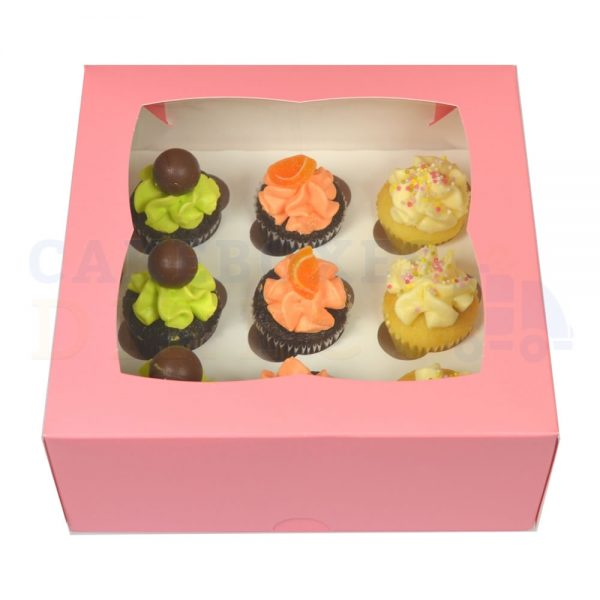 Premium 9 Mini Cupcake Pink Window Box with 3.5cm Divider