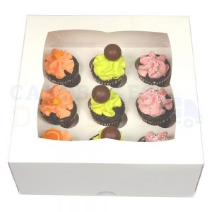 Premium 9 Mini Cupcake Window Box with 3.5cm Divider