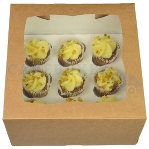 Premium 9 Mini Cupcake Kraft Ex Deep Window Box with 3.5cm Divider