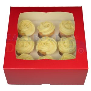 Premium 9 Mini Cupcake Red Window Box with 3.5cm Divider