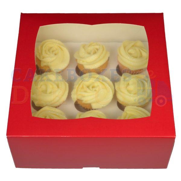 Premium 9 Mini Cupcake Red Window Box with 3.5cm Divider