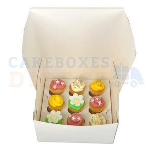 9 Mini Economy (WF7x7x4) Cupcake Box with 3.5cm Divider (Qty 100)