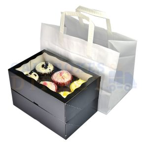 6 Cupcake White Paper Carrier Bag 317 x 183 x 245 mm (Qty 250)