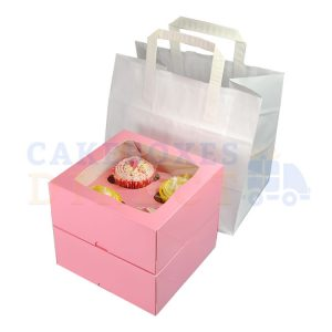 4 Cupcake White Paper Carrier Bag 260 x 175 x 245 mm (Qty 250)