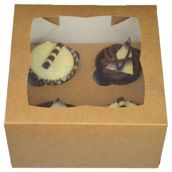 4 Premium Kraft Cupcake EX Deep Window Box with 6cm Dividers