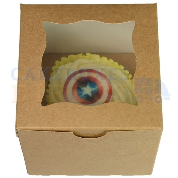 Single Premium Cube Kraft Cupcake Window Box with 6cm Divider