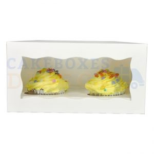Double Premium White Cupcake Window Box with 6cm Divider