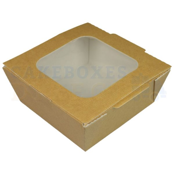 Leakproof Brown/Brown Container Medium Window HL (124x124x59) (Qty250)