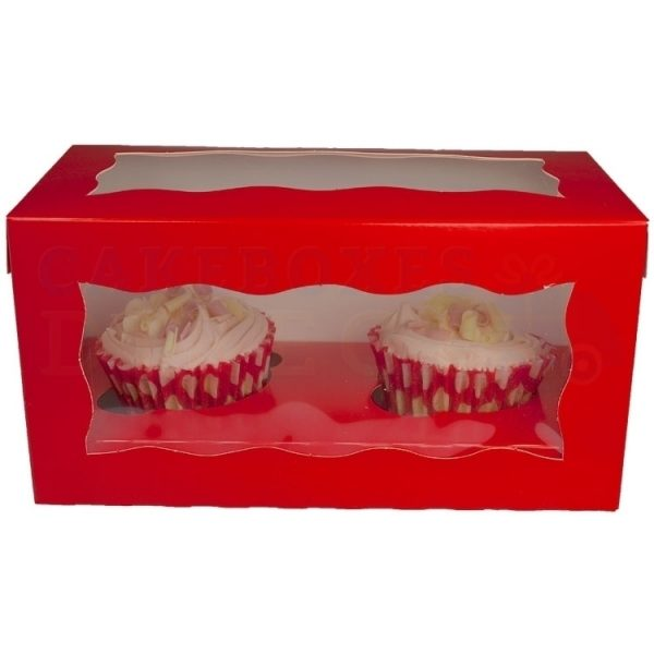 Double Premium Red Cupcake Window Box with 6cm Divider