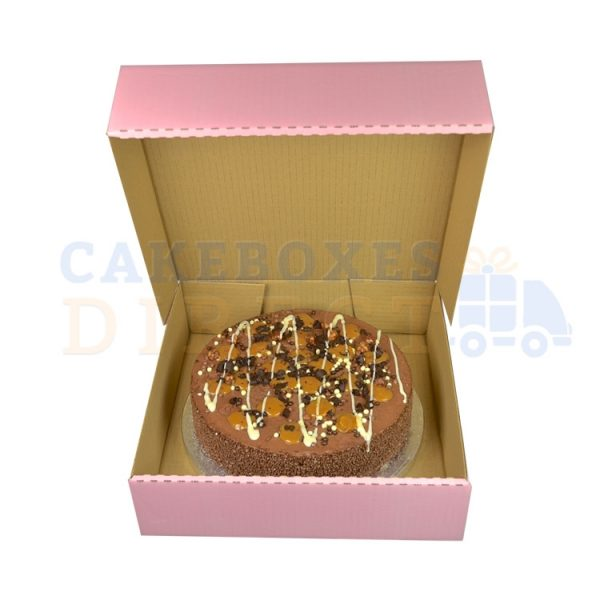 11.5 x 11.5 x 3 inches (Pink) Corrugated cake boxes