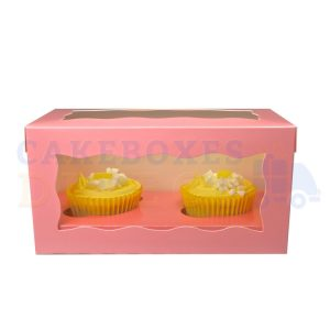 Double Premium Pink Cupcake Window Box with 6cm Divider