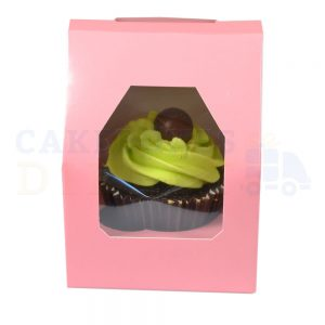 Single Premium Pink Cupcake Window Box with 6cm Divider