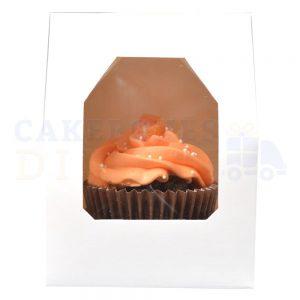 Single Premium White Cupcake Window Box with 6cm Divider