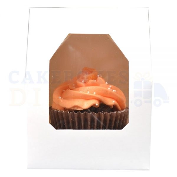 Single Premium White Cupcake Window Box with 6cm Divider
